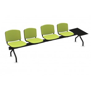 Cadeiras de Sala de Espera/Recepção 4 Lugares (Estofado) + Mesa