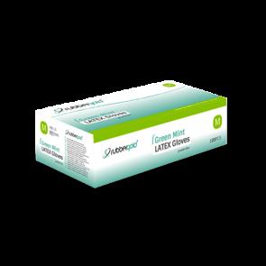 Luvas De Látex Verde Menta, Sem Pó - 100 unidades - Tamanho M